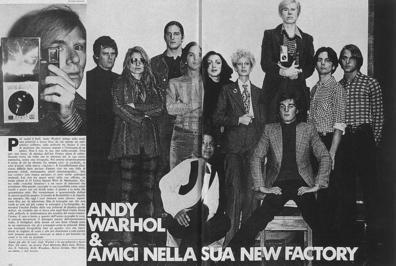 ANDY WARHOL WITH MEMBERS OF THE FACTORY | L'UOMO VOGUE | APRIL/MARCH 1972