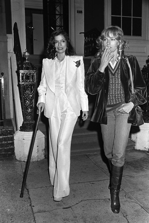 BIANCA JAGGER AND NATHALIE DELON, 1974
