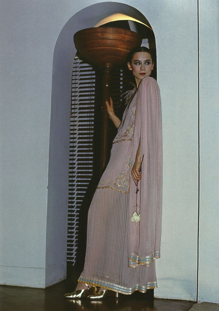 DAVID BAILEY - TINA CHOW IN AN ENSAMBLE BY BILLY GIBB, BRITISH VOGUE, APRIL 1976