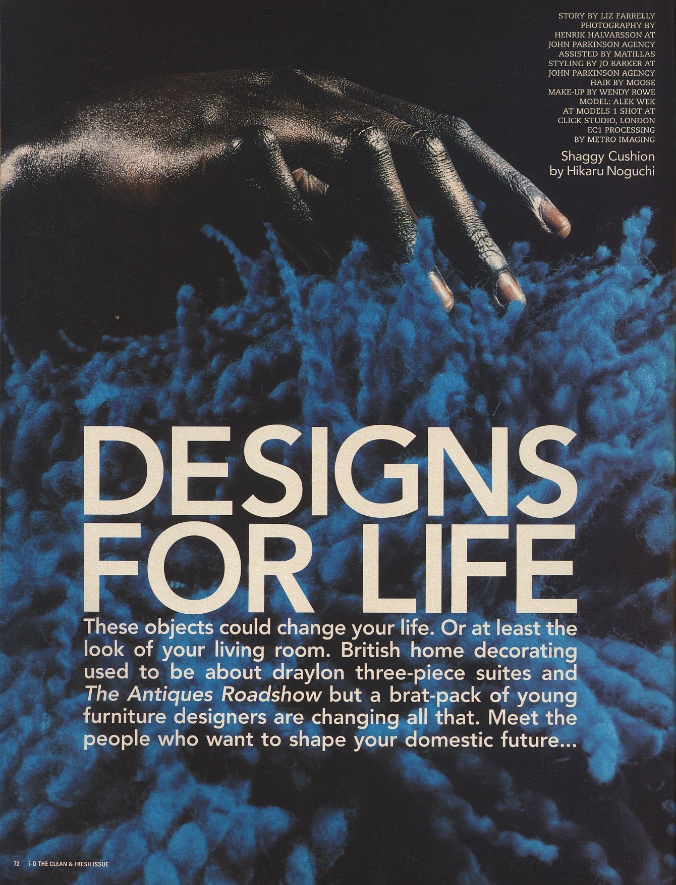 DESIGNS FOR LIFE | ALEK WEK | PHOTOGRAPHY HENRIK HALVARSSON | STYLING JO BARKER | i-D THE CLEAN & FRESH ISSUE NO. 166 | JULY 1997