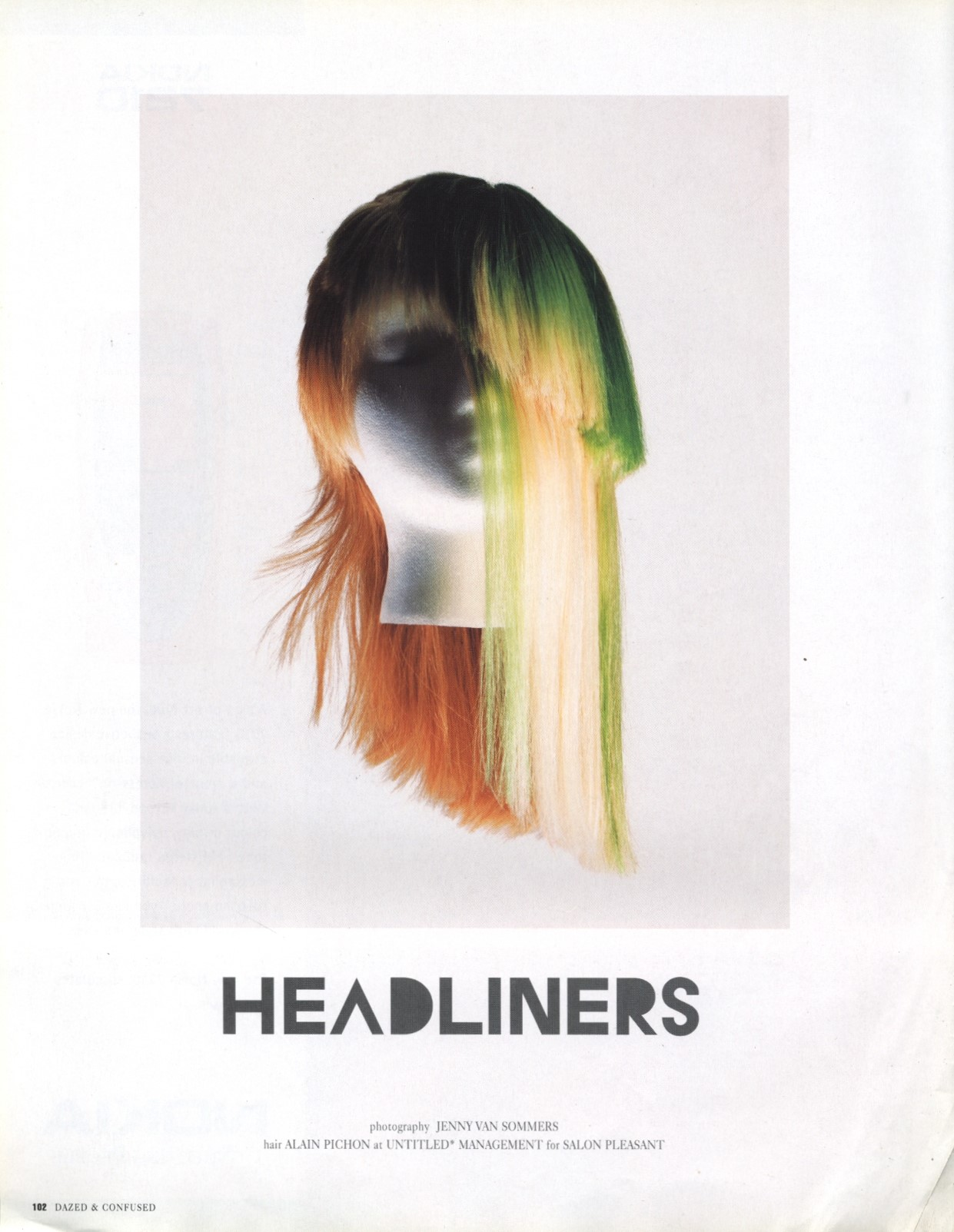 HEADLINERS | PHOTOGRAPHY JENNY VAN SOMMERS | HAIR ALAIN PICHON | DAZED & CONFUSED JAPAN | NOVEMBER 2002