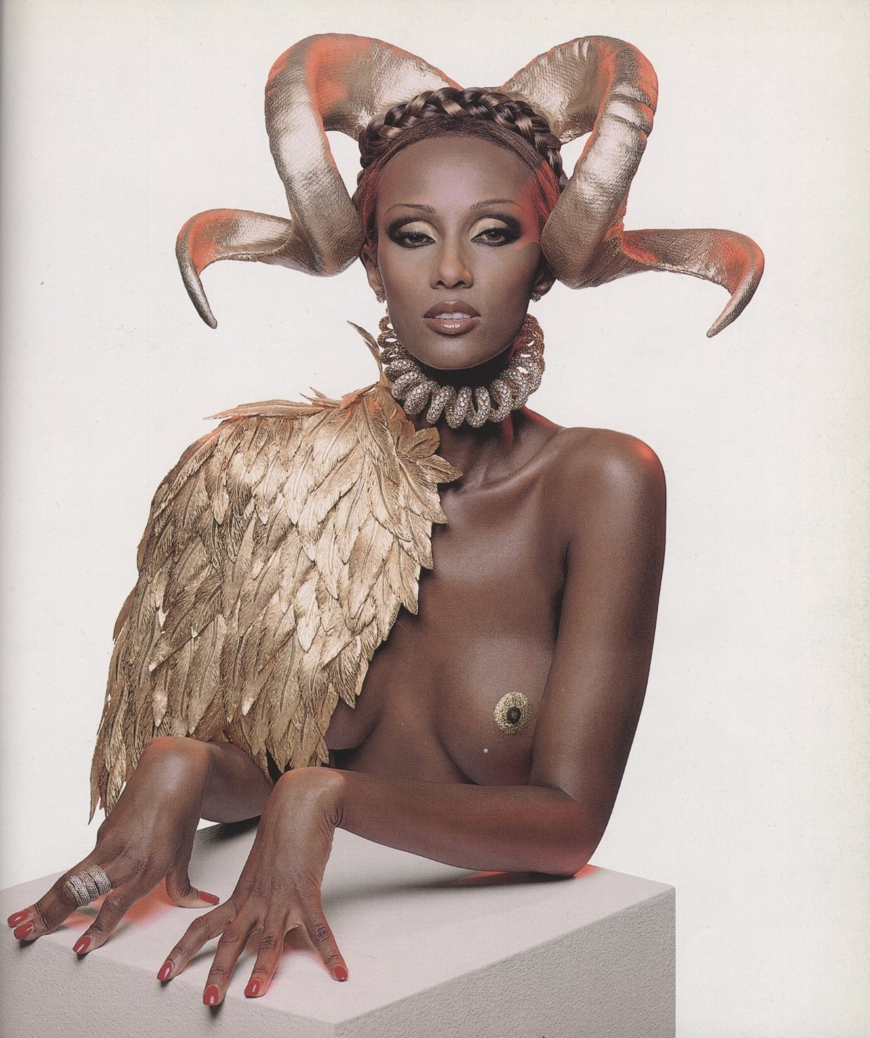 IMAN IN GIVENCHY BY ALEXANDER MCQUEEN SPRING/SUMMER 1997, PHOTOGRAPHY INEZ VAN LAMSWEERDE & VINOODH MATADIN, VISIONAIRE #21, 1997