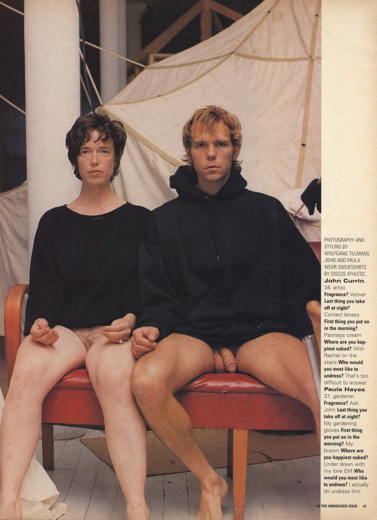JOHN CURRIN AND PAULA HAYES | PHOTOGRAPHY AND STYLING BY WOLFGANG TILLMANS | i-D MAGAZINE NO.159 | DECEMBER 1996