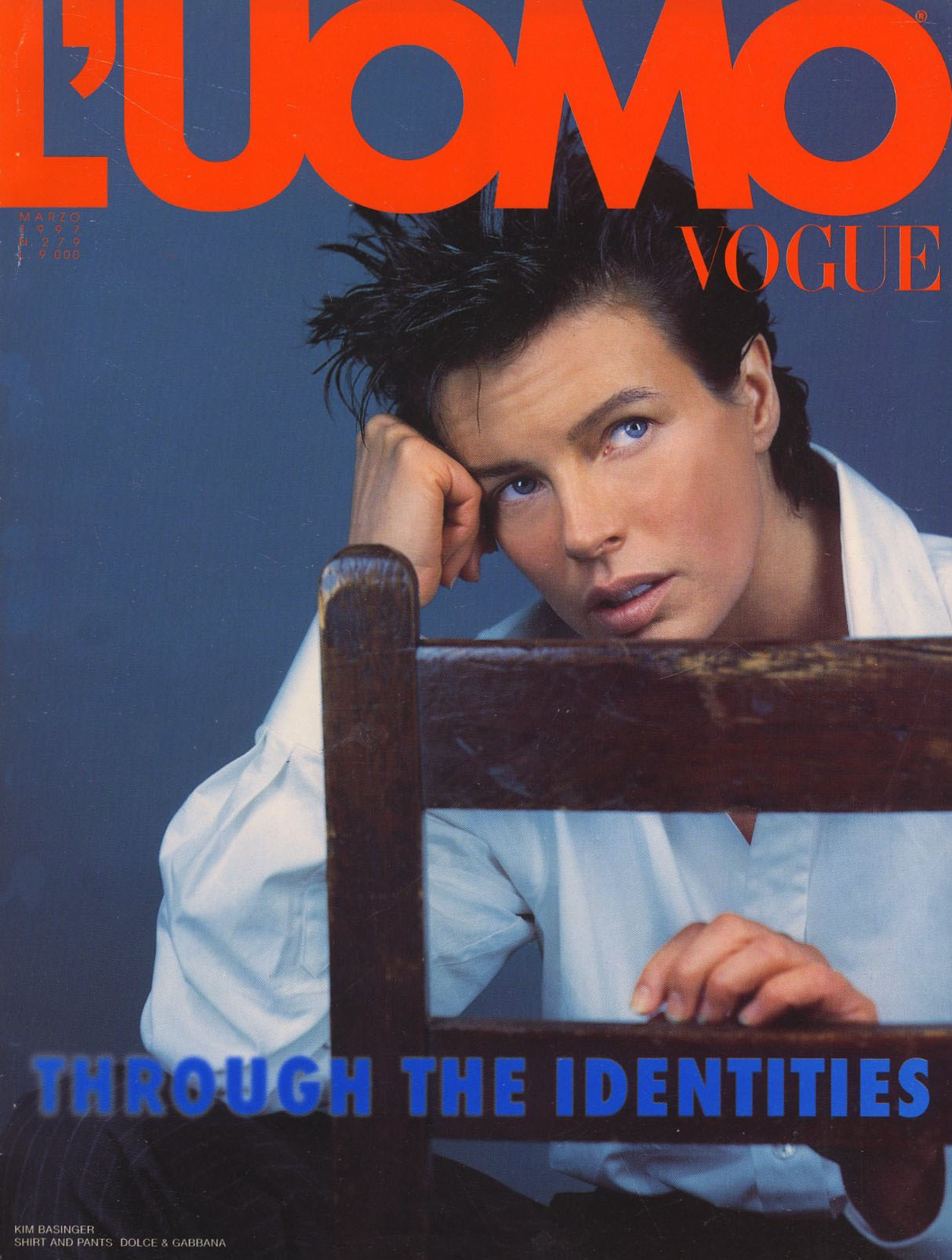 KIM BASINGER | PHOTOGRAPHY MICHEL COMTE | FASHION EDITOR BRANA WOLF | L'UOMO VOGUE N. 279 | MARCH 1997