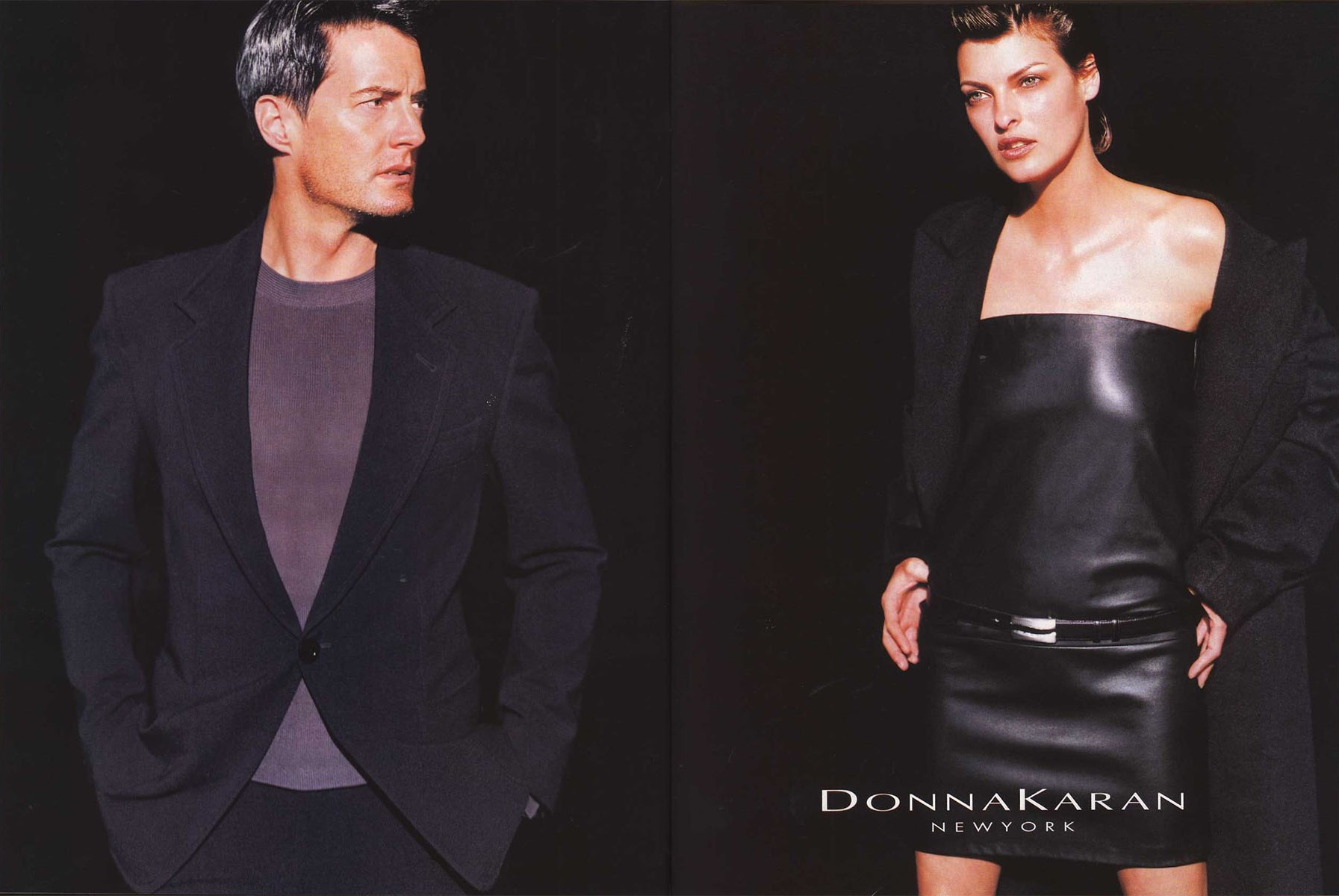 KYLE MACLACHLAN AND LINDA EVANGELISTA | DONNA KARAN AD CAMPAIGN | PHOTOGRAPHY PETER LINDBERGH | VOGUE PARIS N° 780 | SEPTEMBER 1997