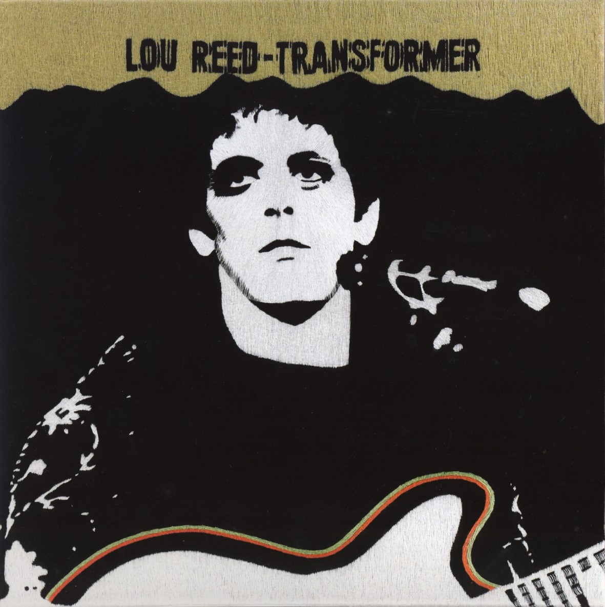 LOU REED | TRANSFORMER | 2003 | EMBROIDERY ON CANVAS | ARTWORK MAURIZIO VETRUGNO