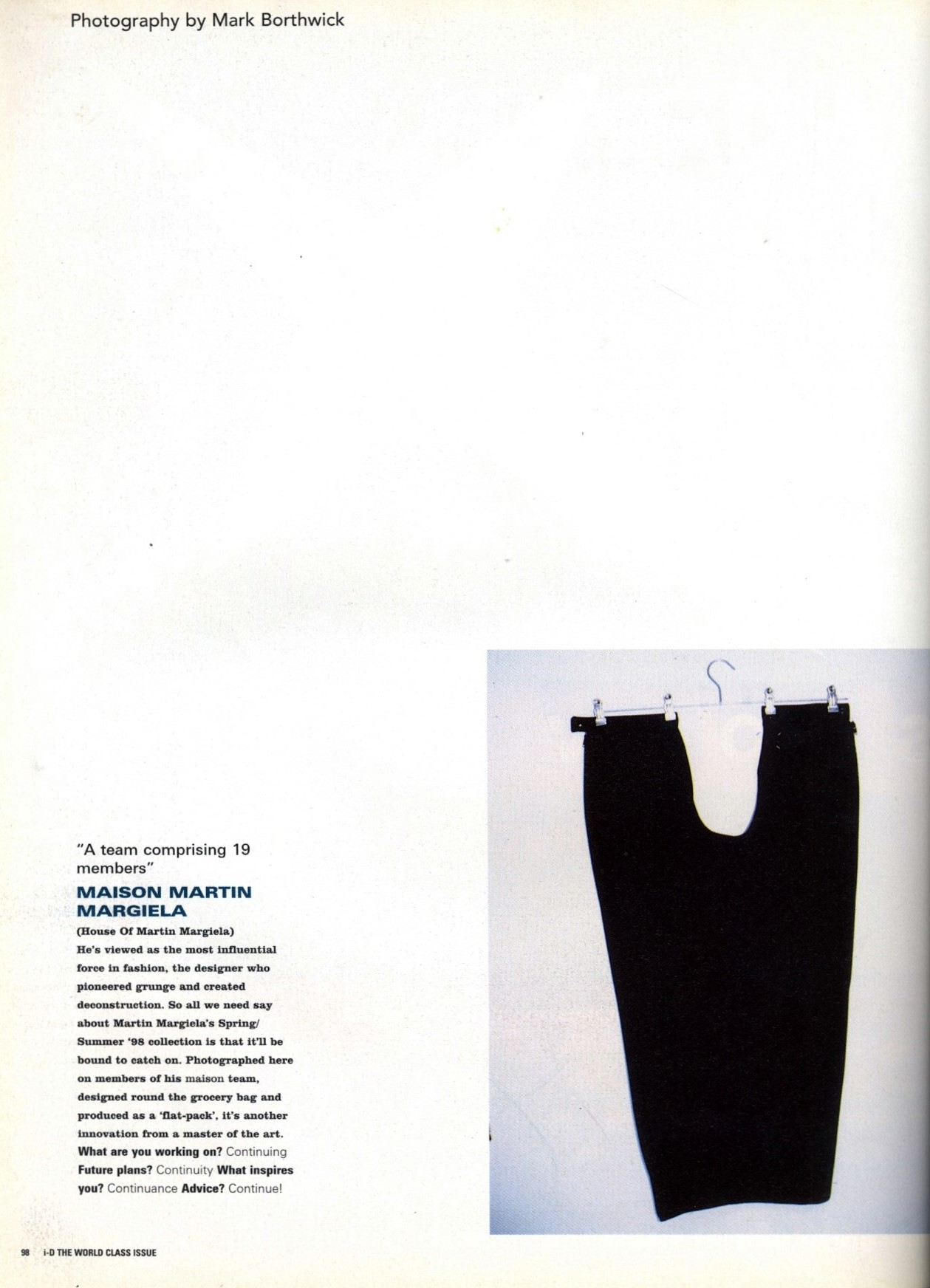 MAISON MARTIN MARGIELA | PHOTOGRAPHY MARK BORTHWICK | i-D MAGAZINE NO.174 | APRIL 1998
