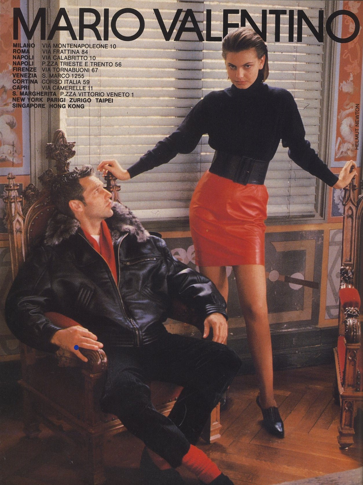 MARIO VALENTINO | AD | PHOTOGRAPHY HELMUT NEWTON | L'UOMO VOGUE N.211 | OCTOBER 1990