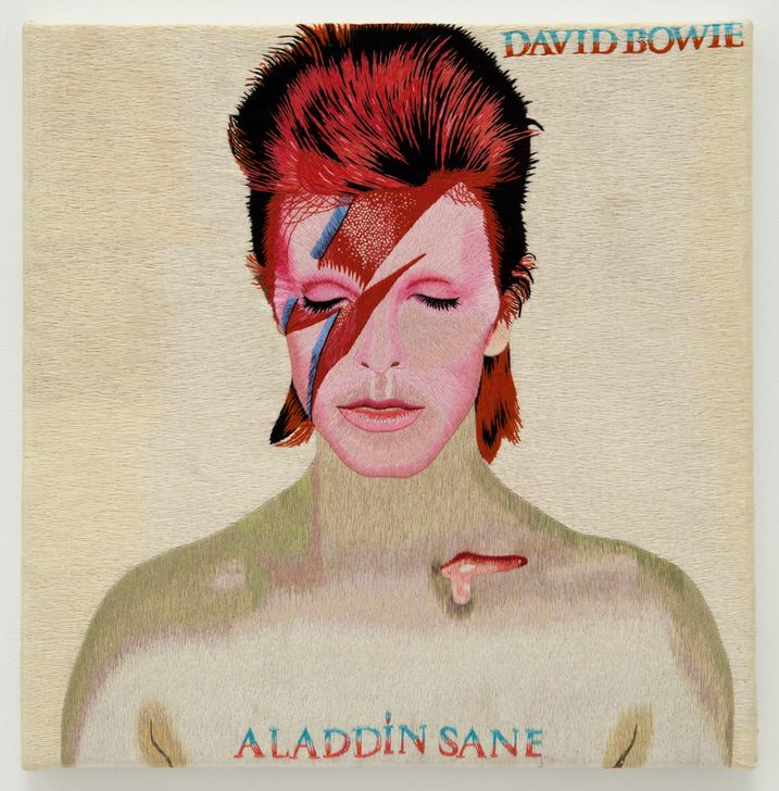 MAURIZIO VETRUGNO,DAVID BOWIE,ALADDIN SANE,2003,Hand embroidered silk thread on canvas