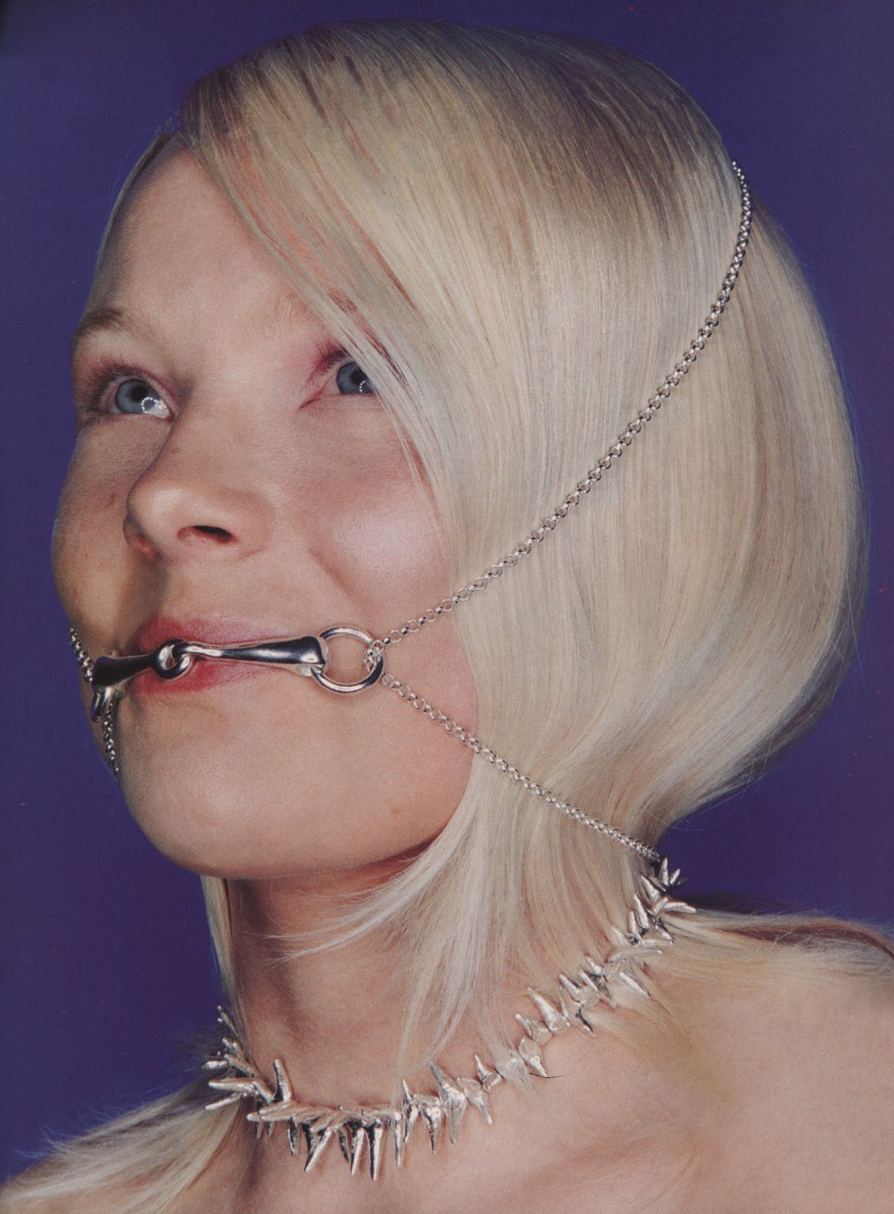 MOUTHPIECE AGENT PROVOCATEUR, SPIKY NECKLACE LARS STURE | PHOTOGRAPHY PETER ROBATHAN | STYLING LYNETTE GARLAND | THE FACE NO 93 | JUNE 1996