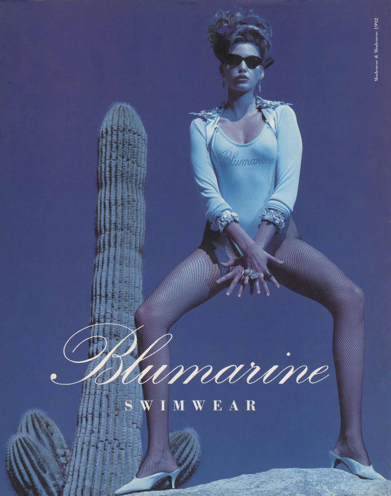 NADJA AUERMANN | BLUMARINE | AD | PHOTOGRAPHY HELMUT NEWTON | VOGUE ITALIA N. 497 | JANUARY 1992 | SUPPLEMENT