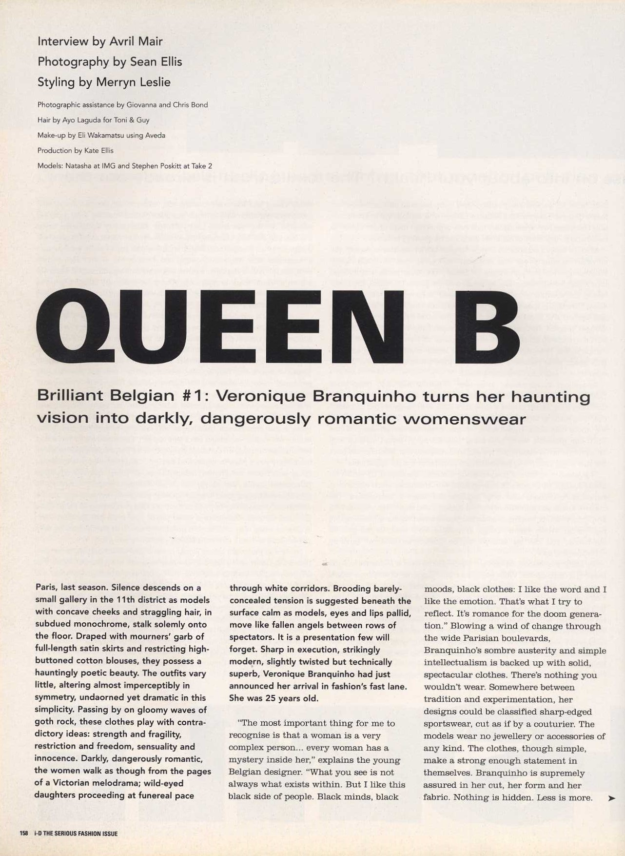 QUEEN B | VERONIQUE BRANQUINHO | NATASHA PHOTOGRAPHED BY SEAN ELLIS | STYLING MERRYN LESLIE | i-D NO.185 | APRIL 1999