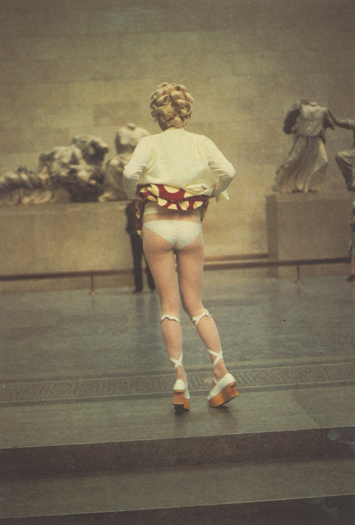 SARAH STOCKBRIDGE, BRITISH MUSEUM, VIVIENNE WESTWOOD MINI-CRINI COLLECTION, SPRING/SUMMER 1985, PHOTOGRAPHY DECLAN RYAN