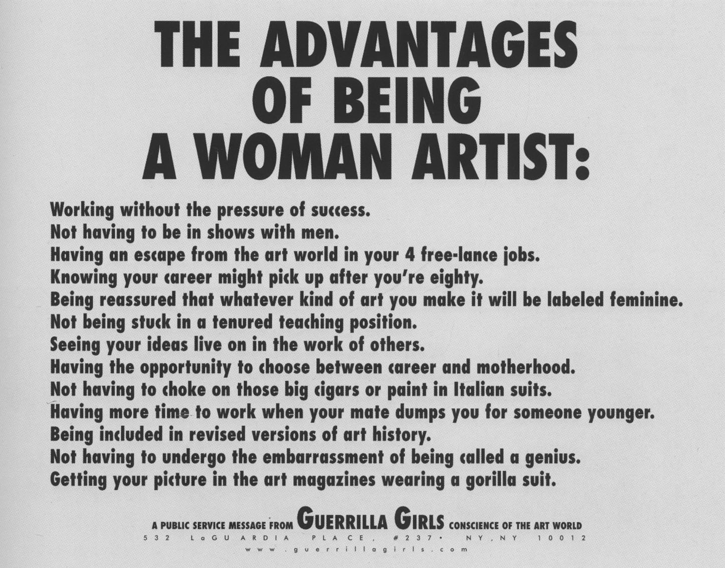THE ADVANTAGES OF BEING A WOMAN ARTIST 1988 GUERRILLA GIRLS