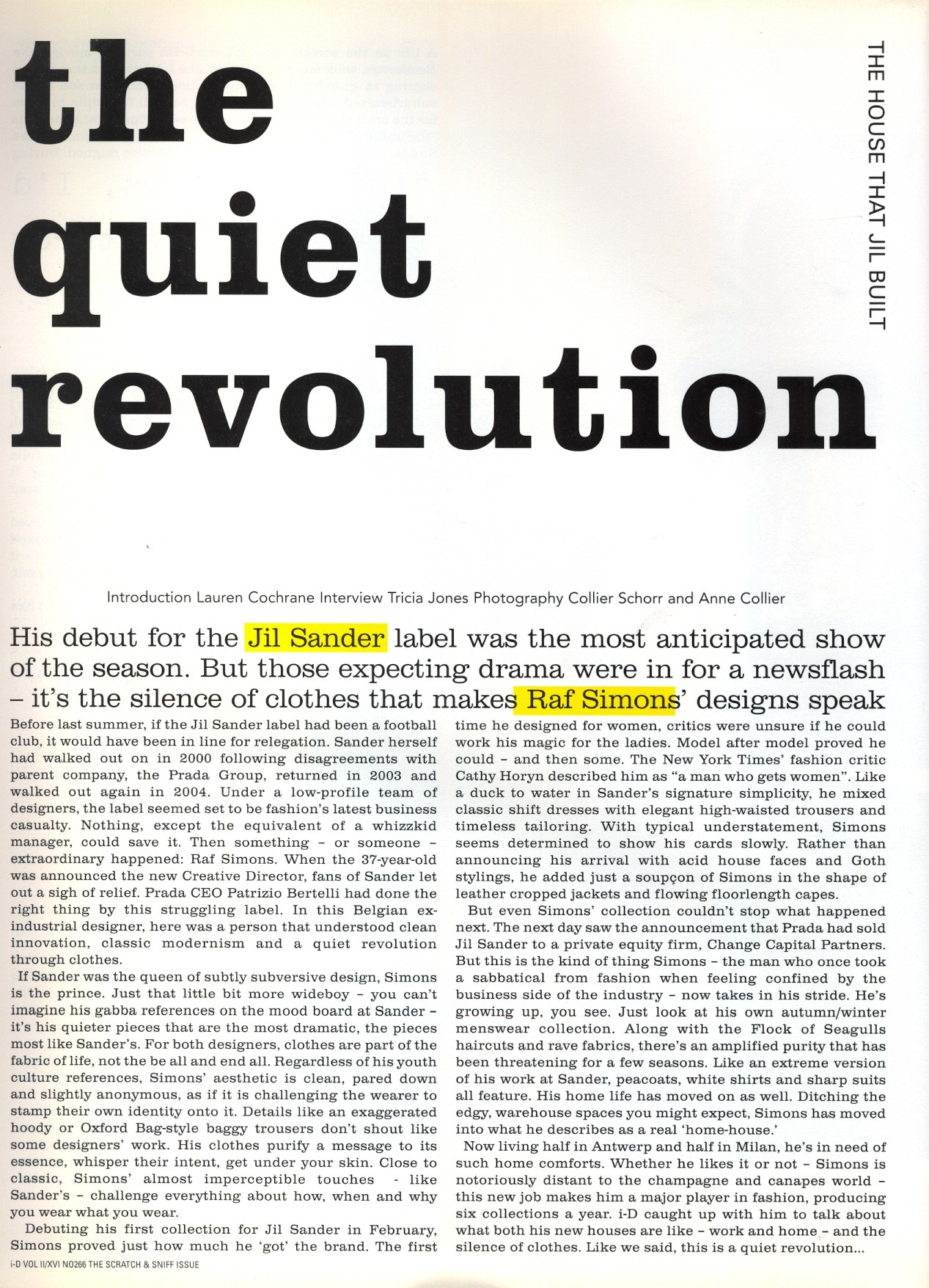 THE QUIET REVOLUTION | PHOTOGRAPHY COLLIER SCHORR AND ANNE COLLIER | i-D MAGAZINE NO.266 | MAY 2006